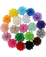 QingHan Baby Girl Hair Flower Accessories Single Pronged Lined Clips