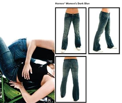 Hornee SA-W3 Mesdames Bootcut taille basse jambes courtes bleu fonc? genou c / w Amour