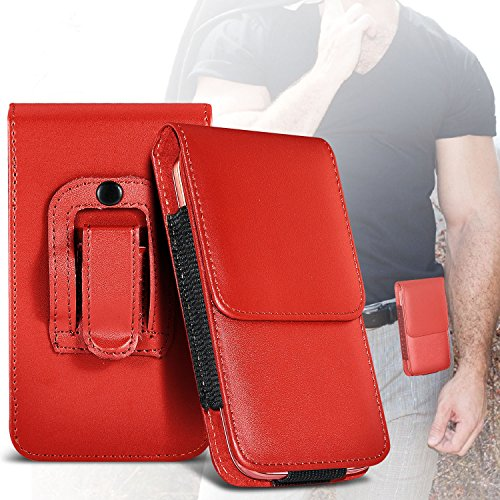 Red Samsung Galaxy S Blaze 4G Protective PU Leather Belt Holster Pouch Case Cover Holder By ONX3
