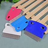 Portable Durable Small Pet Dog Puppy Cat Flea Cleaning Comb Stainless Steel Pin Grooming Brush Tool Random Color
