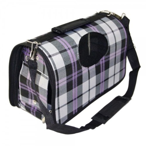 Plaid Pattern Roller Shutter Waterproof Oxford Cloth Pet Bag Backpack Purple Size L