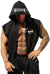 Physique Bodyware Mens Sleeveless Hoodie Medium Black.