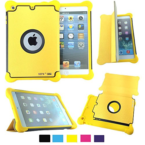 Worw Ipad Mini /Mini 2 Case - Prime Series Folio Leather Flip Smart Cover & Silicone Armor Shockproof Magnetic Case For Apple Ipad Mini 7.9 Inch Tablet - Built-In Book Shell Stand & Auto Wake/Sleep Function - Retail Package (Yellow)