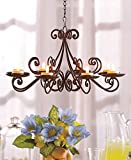 Bronze Metal Tealight Candle Srollwork Chandelier Shabby Chic Decorative Indoor Covered Outdoor Patio Decoration
