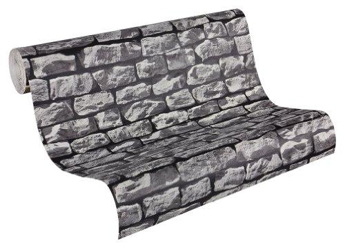 AS-Creation-907929-Wood-n-Stone-Papel-pintado-imitacin-piedra-natural-color-gris-y-negro