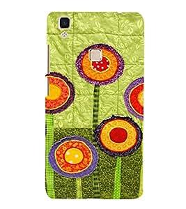 PrintVisa Flower Design Art 3D Hard Polycarbonate Designer Back Case Cover for VivoV3 MAX