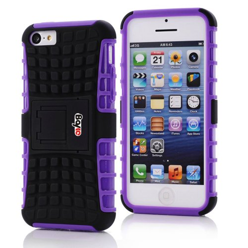 Bayke Brand / Apple Iphone 5 & Iphone 5S 2-Piec Dual Layer Tire Tread Combo Heavy Duty Rugged Matte Skidproof Hard Protective Case Cover With Kickstand (Purple Tpu Inner)