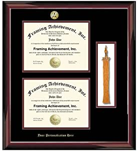 Gold Emboss Personalization Double Diploma Frame With