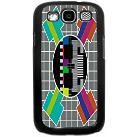 Static TV Screen Black Hard Case Cover for Samsung Galaxy S3 i9300