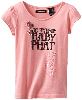 Baby Phat - Kids Little Girls' Printed Sequins Tee, Strawberry, 4