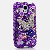 3D Luxury Swarovski Crystal Sparkle Diamond Bling Purple Butterfly Design Case Cover for Samsung Galaxy S4 S 4 IV i9500 fits Verizon, AT&T, T-mobile, Sprint and other Carriers (Handcrafted by BlingAngels®)