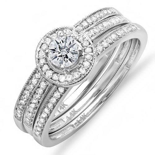 0.60 Carat (ctw) 14k White Gold Round Diamond Ladies Halo Bridal Ring Engagement Matching Band 3 pcs Set 3/4 CT