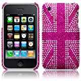 iPhone 3GS / 3G Pink Union Jack Diamante Case / Cover / Shell / Shield Part Of The Qubits Accessories Rangeby Qubits