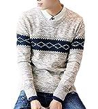 (B-WINDY) ビーウィンディ メンズ ノルディック柄 クルーネック ニット セーター(ベージュ、XL)