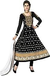 Shayona Enterprise Women's Brocade & Georgette Unstitched Dress Material (Diwali black 3005_Black_Free Size)