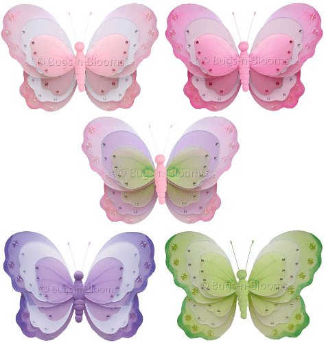 "Butterfly Decorations 7"" Small Triple Layered Nylon Hanging Butterflies Decor 5 Piece Set (Pink & White, Purple & White, Dark Pink & White, Green & White, Pink Purple & Green). Decorate For A Baby Nursery Bedroom, Girls Room Ceiling Wall Decor, Wedding Bi front-995971"