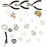 1000 Piece Deluxe Jewellery Making Starter Kit With Beads, Pliers, Cord, Silver Plated Accessories Set By Curtzy TM