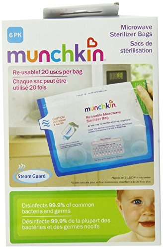 Munchkin Steam Guard Microwave Sterilizer Bags, 6 Pack, White