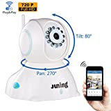 Home Wifi Wireless Security Camera System 720P HD Pan Tilt-JUNING C42 IP Camera (Day/Night Vision,baby monitor,2 Way Audio,SD Card Slot, Alarm)