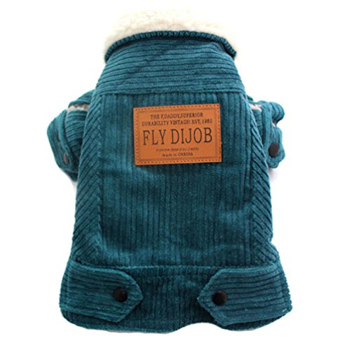 Pet Dog Corduroy Coat Jacket Cat Puppy Warm clothes (XL, Dark Lake Blue) (Home Made Dog Costume)