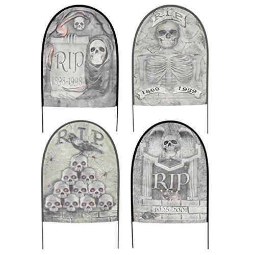 [4 x Assorted Fabric Tombstones Graves Halloween Party Lawn Decoration Prop] (666 Halloween Costume)
