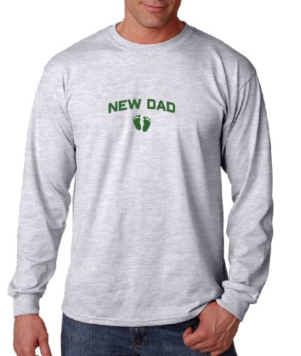 Fastasticdeal New Dad Baby Feet Family First Last Name Long Sleeve Cotton T-Shirt Tee Shirt Ash 2Xl front-946378