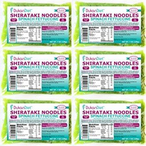 Dukan Diet Spinach Shirataki Noodles - Pack of 6