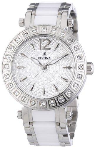 Festina Klassik Ceramic F16643/3 - Reloj analógico de cuarzo para mujer, correa de diversos materiales color blanco (agujas luminiscentes)