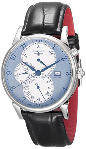 ELYSEE Made in Germany Daidalos 80518 42mm Stainless Steel Case Black Calfskin Synthetic Sapphire Men's Watch