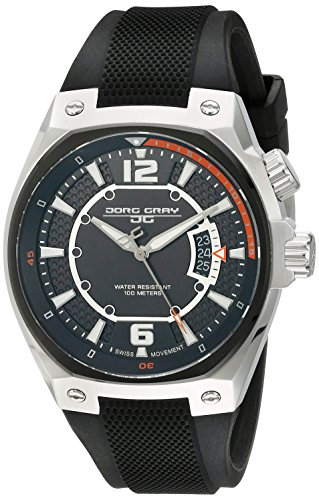 Jorg Gray JG8300-13 - Reloj analógico de cuarzo para hombre, correa de silicona color negro