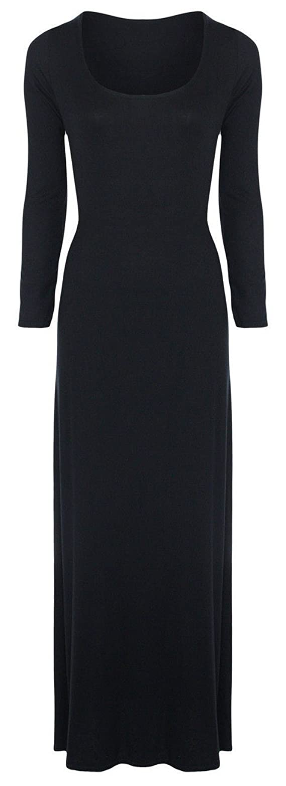 Xclusive Collection Women's Plus Size Scoop Neck Stretch Long Sleeve Maxi Dress
