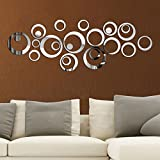 Saifee Acrylic 3D Home & Office Décor Wall Sticker, Silver Mirror, 13 Rings