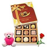 Luscious Combination Of White Chocolates With Teddy And Rose - Chocholik Luxury Chocolates