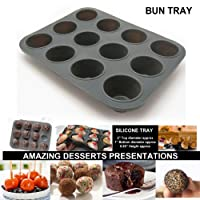 Silicone Bun Tray Muffin Pan 12Cup Maker Baking Candy Jelly Non Stick Mold Mould