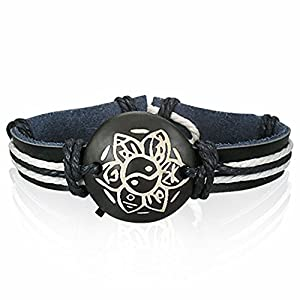Fashion Rope Leather & Bone Flower Yin-Yang/The Tao Watch-Style Bracelet