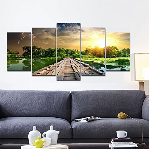 5 Piece The Riverside Landscape Canvas Prints on Canvas Wall Art for Home Decor Modular Pictures (Modular Arts Wall Panels compare prices)