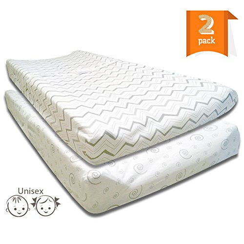 Baby Changing Pad Covers - 2 Pack Jersey Cotton Fitted Sheets for Diaper Change Pads & Tables - Grey and White Unisex Chevron & Swirls Designs for Boys and Girls (Modern Changing Pad Cover compare prices)