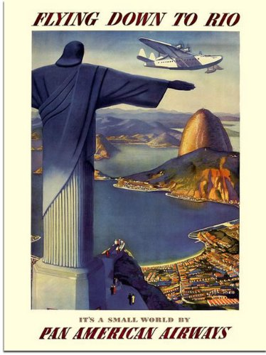 Flying Down to Rio, Pan Am Travel Poster, 1930s (30x40cm Art Print)