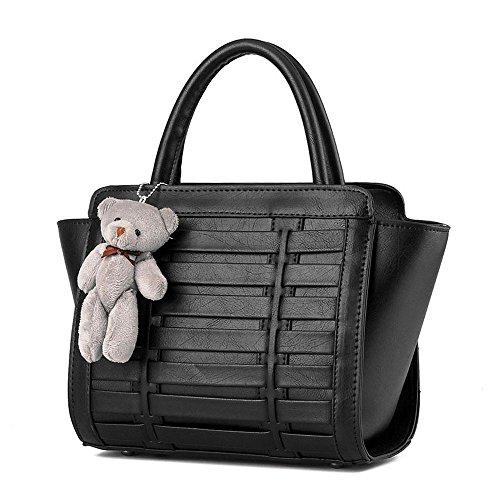 Koson uomo donna, in stile Vintage, con tracolla per piccola borsa a tracolla, maniglia superiore, nero (Nero) - KMUKHB365