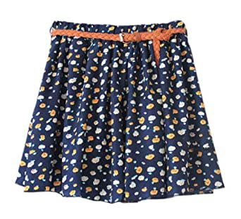 AM CLOTHES Womens Floral Skater Skirt with Belt One Size Flower Blue