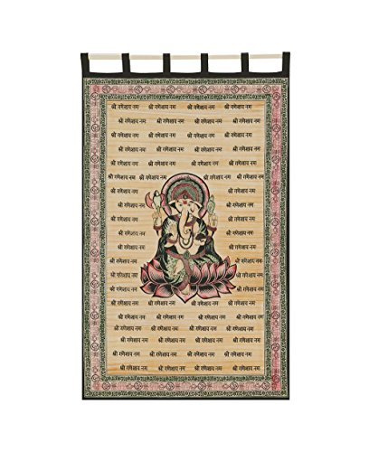 Colorful Ganesh Tapestry Curtain, 100% Cotton