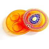 Elegant Handmade Round Shape Kumkum Box, Decorated With Classic Kundan Work, And Multi-color Stones Made On Acrylic