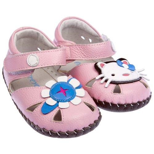 Freycoo-da bambine in vera pelle suola morbida bambino scarpe sandali rosa Hello Kitty Stile, rosa (Pink), 18-24 Mesi Guida alle taglie 135 mm
