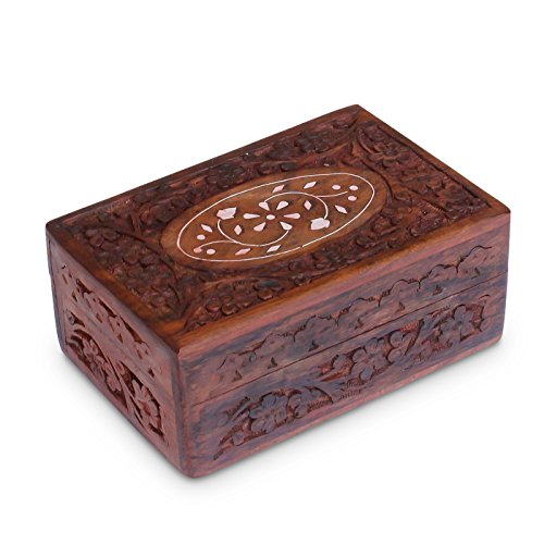 Handcrafted Wooden Jewelry/Keepsake Box with Lid - Small Wood Storage Chest Vintage Look (6 x 4
