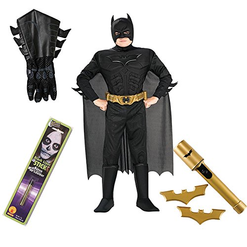 Batman TDKR Kids Costume, Gauntlets, Makeup Stick, Batarangs, Safety Light, (L)