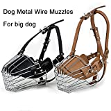 AerWo Adjustable New Large Dog Anti-bite Metal Wire Basket Leather Mouth Cover Barking Chewing Muzzles Pet Safety Mask, Size 5.1 Inches/Black