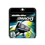 Gillette Mach3 Base Cartridges, 12 Count