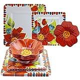 Laurie Gates Floral Embossed 16-pc Melamine Dinnerware Set (Red)