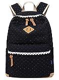 Coofit Damen Mädchen Rucksäcke Schulrucksäcke Canvas Schultaschen Polka Dots Sport