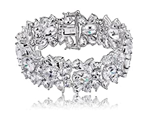 Olivia's 925 Sterling Silver Bridal Bracelet Clear Oval & Round Shaped CZ Half Bezel Flower Style - Incl. ClassicDiamondHouse Free Gift Box & Cleaning Cloth